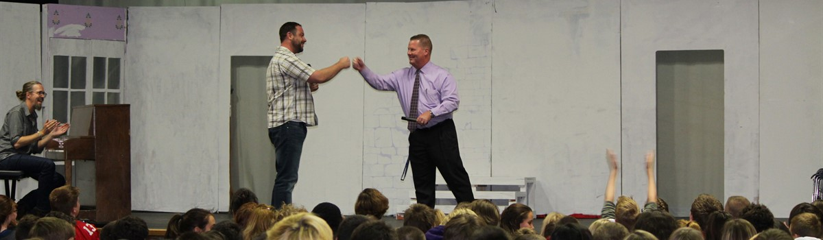 Mr. Hobbs performs improv with Justin Howard